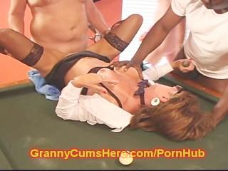 Old GRANNY turns SLUT at the POOL HALL