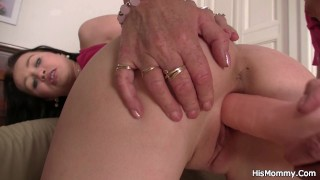 Old lesbian mom toying her young pussy