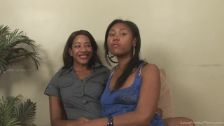 Two hot black girls and a strap-on
