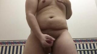Chubby Pup Cumming Hard In Work Restroom Jerking boobs