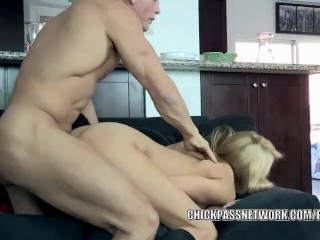Busty coed Samantha fucks and takes the cum on her tits