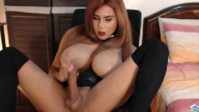 Huge Tits Shemale Masturbates and Fucks Her Ass 7