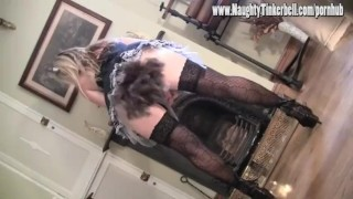 Naughty Maid Tinkerbell plays with pussy toys and takes spunk in her mouth