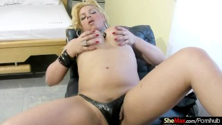 Shemale with and long blonde stripping jerking hair is shemaletugjobs tranny
