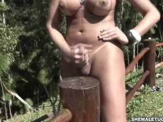 Aline Santos Bikini shemale in Blonde in the Woods