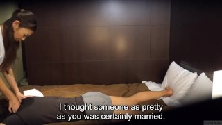 Japanese hotel massage gone wrong Subtitled in HD Wife interracial