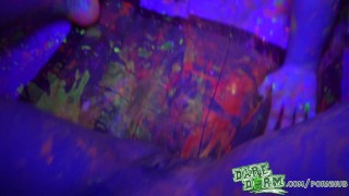 Daredorm - Glow Party fuckfest Brunette eating