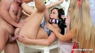 Czech Teens Angella Christin and Niki Sweet Threesome