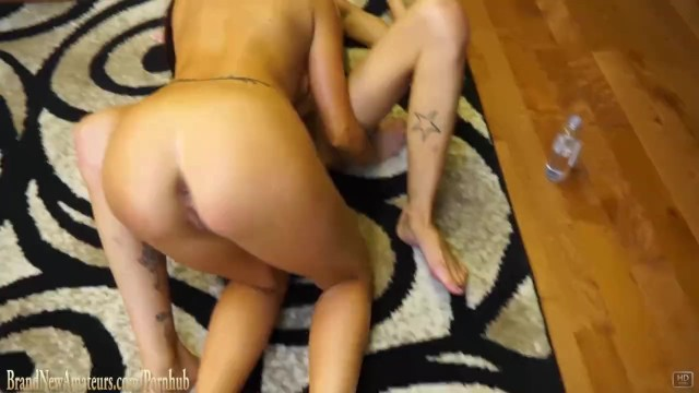 Skinny girl and girlfriend suck cock together and swallow 13