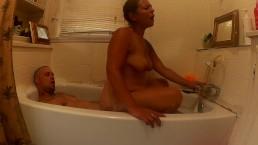 Reverse Cowgirl Bubble bath fun