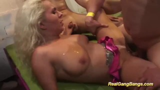 busty tattooed babe in real gangbang Cock milf