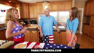 Preview 1 of FamilyStrokes - 4th Of July BBQ Turns Into Step Sibling Fuckfest