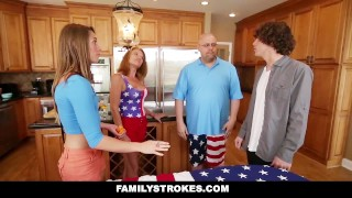 FamilyStrokes - 4th Of July BBQ Turns Into Step Sibling Fuckfest Homemade rough