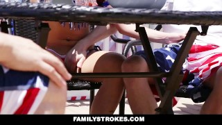 FamilyStrokes - 4th Of July BBQ Turns Into Step Sibling Fuckfest Cheat style