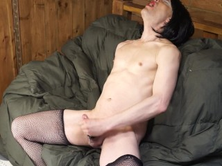 Nasty shemale talking dirty in cock ring stockings...