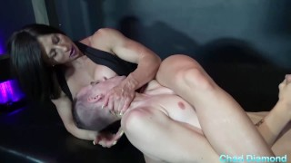 Rapture dommes her slave and makes him fuck her and worship her muscles