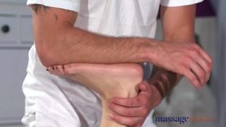 Massage Rooms Natural tits brunette fucks big dick before hand job cumshot
