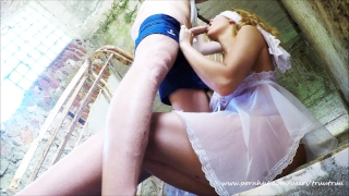 Hardcore Rough Gagging Sloppy Deepthroat. Abuse inside Abandoned Building British stockings