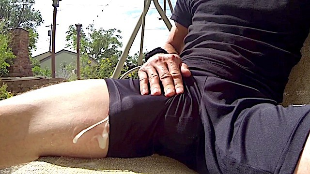 Male naked athlete Cumshot in athletic shorts