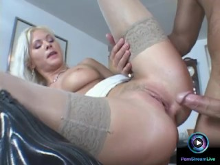 Curvy Kathy Anderson pumping hard on a big cock