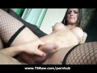 Big Breasted Latina Shemale Gets Huge Cock