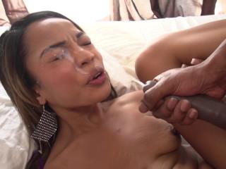 Petite ebony babe gets big black dick anal...