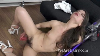 Miranda masturbates and orgasms with sexy toy Titty cowgirl