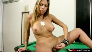 Shecock pumping shemale blows her jizz load all around