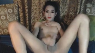 Horny Tranny Jerking Off her Cock