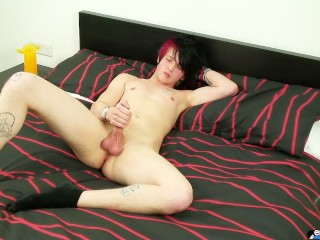Emo gay cums on his bed