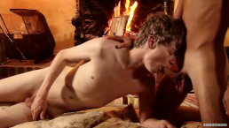 Leo Marco and Lyle Boyce having sensual anal sex by the fireplace