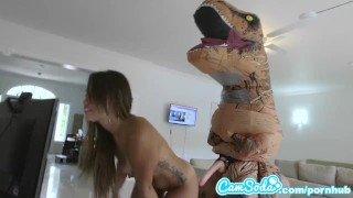 big ass latina teen chased by lesbian loving TREX on hoverboard then fucked Pornstar mother