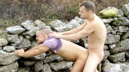 Two hunks go camping and start funking outdoors
