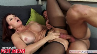 Redheaded MILF Janet Mason seduces her son's young friend Naughty America
