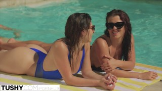 Screen Capture of Video Titled: TUSHY First Anal For Best Friends Keisha Grey and Leah Gotti