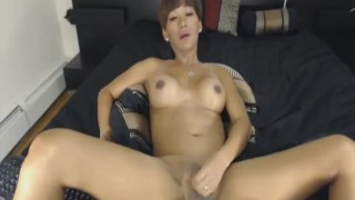 Jerks shemale hard cock brunette her ladyboy tits