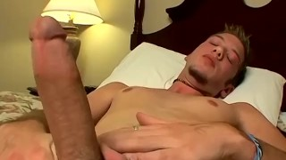 Adorable twink Christian jerks and cums in his own mouth