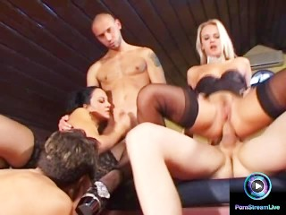 Raunchy group sex featuring the wild Cristall de Boor and Sandy Style