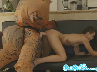 lesbian trex Big loving hoverboard a ass by chased latina on teen