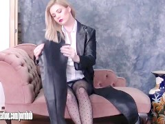 Gorgeous Babes In Leather Put On Tight Pants And Sexy Boots Lingerie Tease
