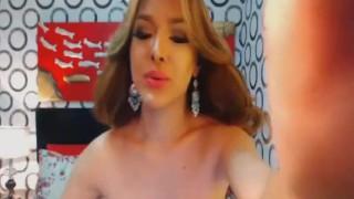 Beautiful Brunette Tranny in a Hot Masturbation Show