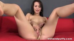 Cute brunette bitch Carrie May in a solo scene