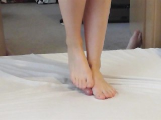 Wild dancing on my cock barefeet with cumshot