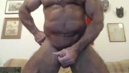Muscle Daddy chats a bit - then Jerks his dick for an appreciative fan.