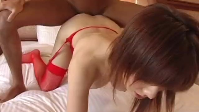 Asian redhead getting fucked deep in her red lingerie