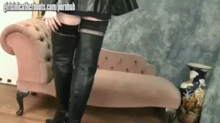 Hot busty blondes tease feeling every inch of sexy leather thigh high boots Big t