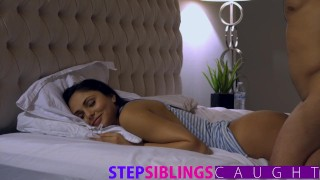 Sleeping step sister pussy and gets facial pounded faking sister