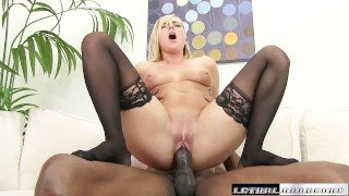 Screen Capture of Video Titled: Black Cocks Matter - Teen Kate England rides her first BBC and cums