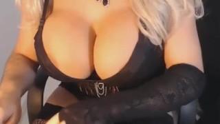 Shemale with Huge Titties Masturbates Big tribute