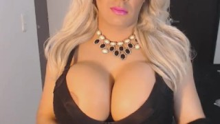 Shemale with Huge Titties Masturbates Toys shaved